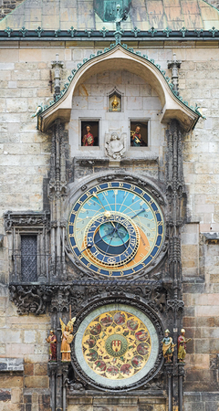 PRAGUE, CZECH REPUBLIC - FEBRUARY 26, 2010: Prague Orloj, a medieval astronomical clock mounted on the southern wall of Old Town Hall at the Old Town Square. The clock was first mentioned in 1410. Redactioneel