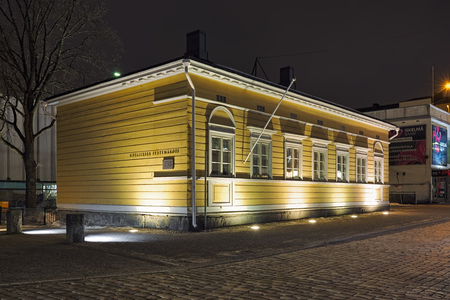 HAMEENLINNA, FINLAND - MARCH 4, 2019: Sibelius Childhood Home in night. Composer Jean Sibelius was born in the house in 1865 and lived there in his childhood. Since 1965, the house serves as a museum. Redactioneel