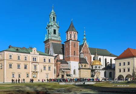 KRAKOW, POLAND - DECEMBER 17, 2016: Wawel Cathedral or Royal Archcathedral Basilica of Saints Stanislaus and Wenceslaus on Wawel Hill. It is the coronation site and burial place of the Polish monarchs