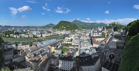 Panorama of Salzburg, Austria. View from observation point at the Monchsberg mountain. Stockfoto