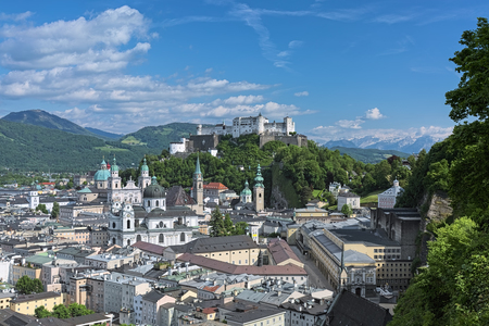 Salzburg, Austria. View over the Old Town from observation point at the Monchsberg mountain.