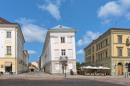 TARTU, ESTONIA - JULY 24, 2016: Leaning House of Tartu. It was built in 1793 and began to tilt due to the different materials used in its foundations. After restoration in 1980, falling has suspended.