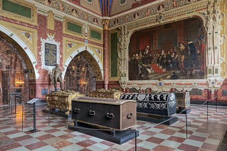 ROSKILDE, DENMARK - DECEMBER 14, 2015: Christian IVs chapel in Roskilde Cathedral with the sarcophagi of Christian IV of Denmark and members of his family including his son Frederick III of Denmark.