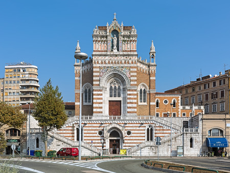 RIJEKA, CROATIA - OCTOBER 9, 2018: Capuchin Church of Our Lady of Lourdes. The church is a unique example of eclecticism in Rijeka, with emphasis on neo-Gothic form. It was built in 1904-1929.