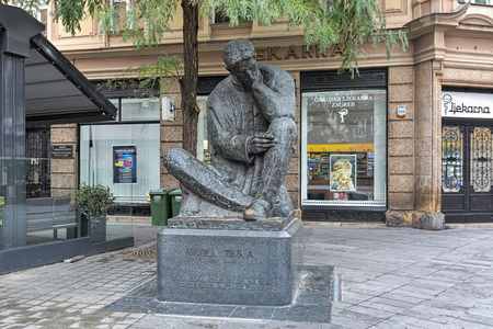 ZAGREB, CROATIA - OCTOBER 7, 2018: Nikola Tesla Monument. The statue was created by Ivan Mestrovic in 1955 and placed at the citys center in 2006 on the celebration of Teslas 150th anniversary.