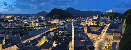 Panorama of Salzburg at sunset, Austria. View from observation point at the Monchsberg mountain.