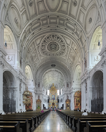 MUNICH, GERMANY - MAY 30, 2017: Interior of St. Michaels Church. The church was built by William V, Duke of Bavaria in 1583-1597. This is the largest Renaissance church north of the Alps.