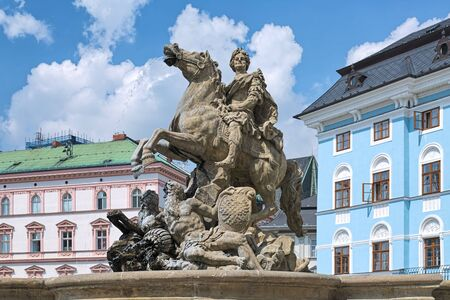 Caesar Fountain in Olomouc, Czech Republic. This is the biggest of seven magnificent city's Baroque fountains. It was built in 1725 by stonemason Vaclav Render and sculptor Jan Jiri Schauberger.