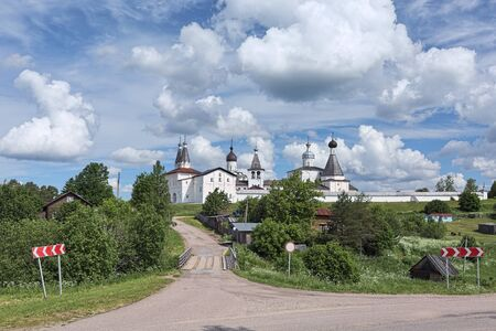 Ferapontov Monastery in the Vologda region of Russia. It was founded by St. Ferapont of Belozersk in 1398. Stock Photo