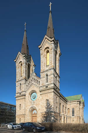 Charles' Church in Tallinn, Estonia. The church was founded in 1670 and named after the Swedish king Charles XI. The present church building was constructed in 1862-1882 in a Romanesque Revival style.