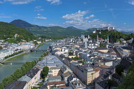 Salzburg, Austria. View on the historical part of the city from observation point at Monchsberg mountain. Standard-Bild