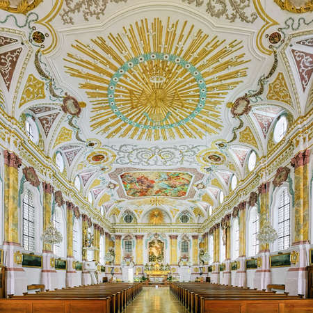 MUNICH, GERMANY - MAY 29, 2017: Interior of Burgersaal Church. The Burgersaal was built in 1709-1710 by Giovanni Antonio Viscardi as a prayer and assembly hall. Since 1778 it is used as a church. Editorial
