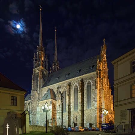 BRNO, CZECH REPUBLIC - DECEMBER 11, 2016: Cathedral of Sts. Peter and Paul in night. The beginnings of cathedral date back to the 11th-12th century. It is a national cultural monument.
