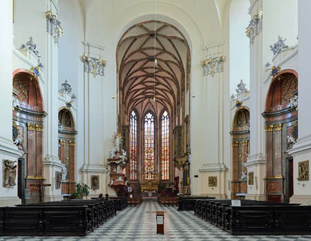 BRNO, CZECH REPUBLIC - DECEMBER 12, 2016: Interior of Cathedral of Sts Peter and Paul. The beginnings of cathedral date back to the 11th-12th century. Present Baroque interior is from the 18th century