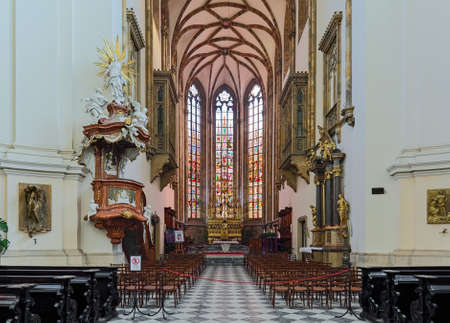 BRNO, CZECH REPUBLIC - DECEMBER 12, 2016: Choir and altar of Cathedral of Sts Peter and Paul. Cathedral is a national cultural monument and one of the most important pieces of architecture in Moravia. Editorial