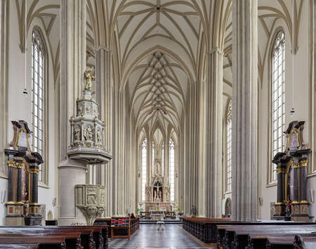 BRNO, CZECH REPUBLIC - DECEMBER 12, 2016: Interior of Church of St. James the Great. Present Late Gothic church was built in the 15th-16th century, and renovated in the 18th and 19th centuries.