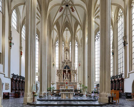 BRNO, CZECH REPUBLIC - DECEMBER 12, 2016: Chancel, choir and altar of Church of St. James the Great. Present church was built in the 15th-16th century. The Neo-Gothic interior was created in 1871-1881