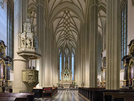 BRNO, CZECH REPUBLIC - DECEMBER 12, 2016: Interior of Church of St. James the Great in evening. Present church was built in the 15th-16th century, and renovated in the 18th and 19th centuries.