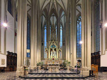 BRNO, CZECH REPUBLIC - DECEMBER 12, 2016: Chancel, choir and altar of Church of St James in evening. Present church was built in the 15th-16th century. The Neo-Gothic interior was created in 1871-1881
