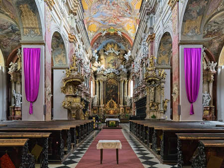 BRNO, CZECH REPUBLIC - DECEMBER 12, 2016: Interior of Church of the Assumption of the Virgin Mary or Jesuit Church. The church was built in 1598-1602 and modified in the 17th and 18th centuries.