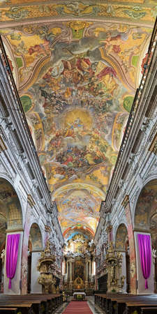 BRNO, CZECH REPUBLIC - DECEMBER 12, 2016: Interior of Church of Assumption of Virgin Mary, also known as Jesuit Church. The church was built in 1598-1602. Ceiling fresco was painted in 1732-1733. Editorial