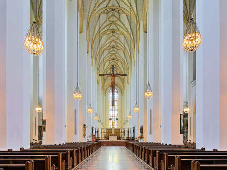 MUNICH, GERMANY - MAY 30, 2017: Interior of Frauenkirche (Cathedral of Our Lady). The church was built in 1468-1488 and consecrated in 1494.