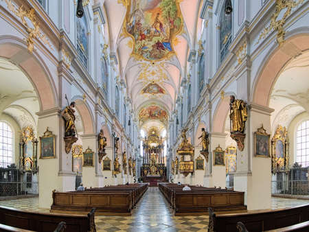 MUNICH, GERMANY - MAY 30, 2017: Interior of St. Peter's Church (Alter Peter). This is the oldest church in the city. The present Late Baroque and Rococo interior was created in the 18th century.