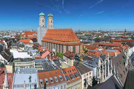Munich, Germany. Panoramic view over Frauenkirche (Cathedral of Our Lady) and north-western part of the city from tower of New Town Hall.