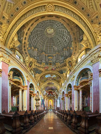 VIENNA, AUSTRIA - DECEMBER 9, 2016: Interior of Jesuit Church or University Church. The church was built in 1623-1627. It was remodeled in 1703-1705 by Andrea Pozzo, who also executed ceiling fresco.
