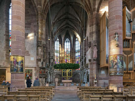 NUREMBERG, GERMANY - DECEMBER 13, 2017: Interior of Frauenkirche (Church of Our Lady). The church was built in 1352-1362.