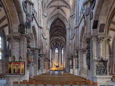 NUREMBERG, GERMANY - DECEMBER 13, 2017: Interior of St. Sebaldus Church. The construction of the church began in 1225. It is one of the most important churches of the city, and also one of the oldest.