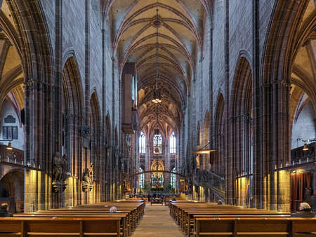 NUREMBERG, GERMANY - DECEMBER 13, 2017: Interior of St. Lorenz Church. The church was laid around 1250 and completed in 1477. It was badly damaged during the World War II and later restored.