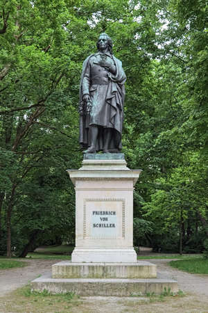 Friedrich Schiller monument at Maximiliansplatz square in Munich, Germany. The monument was unveiled in 1863.