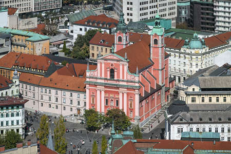 Ljubljana, Slovenia. High angle view on Franciscan Church of Annunciation. The church was built in 1646-1660. Its facade was built in 1703-1706. Latin motto on the facade reads: Hail, full of grace!