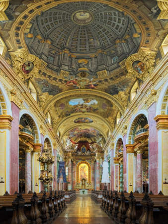 VIENNA, AUSTRIA - DECEMBER 9, 2016: Interior of Jesuit Church, also known as University Church. It was built in 1623-1627 and remodeled by the Italian painter and architect Andrea Pozzo in 1703-1705.