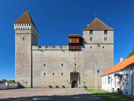 KURESSAARE, ESTONIA - JUNE 23, 2017: The convent building of the Kuressaare Episcopal Castle on Saaremaa island. The first written message about the Kuressaare Castle dates back to 1381.