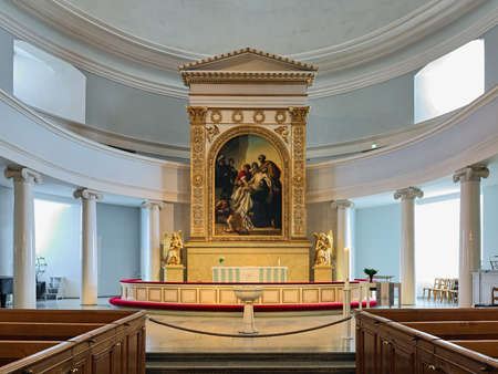 HELSINKI, FINLAND - APRIL 4, 2016: Altar of Helsinki Cathedral. The cathedral was built in 1830-1852. The Descent of Jesus from the Cross altarpiece was painted by Carl Timoleon von Neff (1804-1877). Editorial