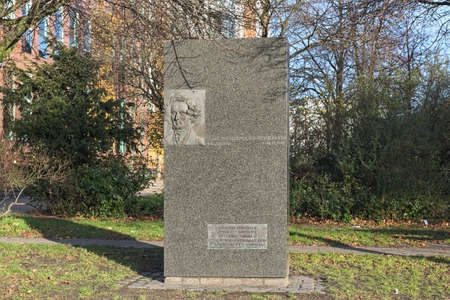 HAMBURG, GERMANY - DECEMBER 5, 2018: Felix Mendelssohn Bartholdy monument. It was donated by the Mendelssohn Society and erected in 1997 in the 150th year of death of Felix Mendelssohn Bartholdy.