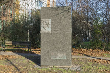 HAMBURG, GERMANY - DECEMBER 5, 2018: Fanny Hensel (born Mendelssohn Bartholdy) monument. The monument was donated by Mendelssohn Society and erected in 1997 in the 150th year of death of Fanny Hensel. Editorial