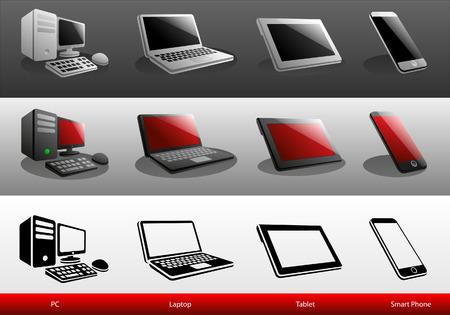 digital tablet: Smart Phone ,Digital Tablet ,Laptop and Computer Icon Vector Illustration