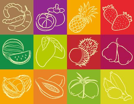 tamarindo: Frutas Tropicales Outline Vectores