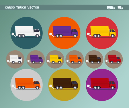 Cargo Truck & Delivery Van Icon Set Vector