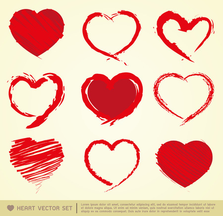 Hearts in Hand drawn Style Set Vector