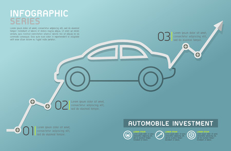 automobile industry: Automobile Rising Line Diagram Template Vector