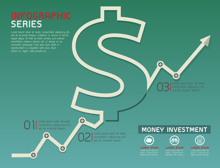 grow money: Currency Rising Line Diagram Template Vector Illustration