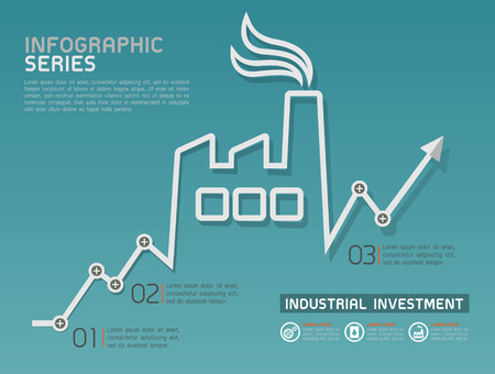 industry icons: Industrial Rising Line Diagram Template Vector