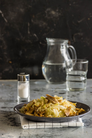 dried gourd: stir fried cabbage with chicken and mushrooms