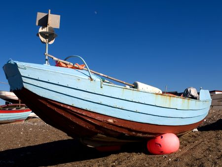 fishingboat: Blue Fishingboat on Beach