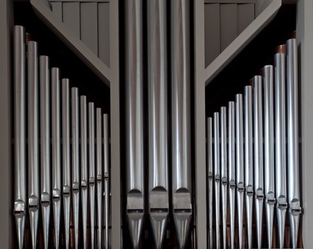 pipe organ: Symmetrically ordered organ pipes from church.