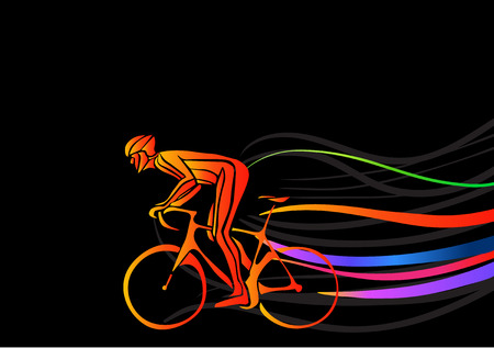 Professional cyclist involved in a bike race. Vector artwork in the style of paint strokes. Vector illustration Vettoriali